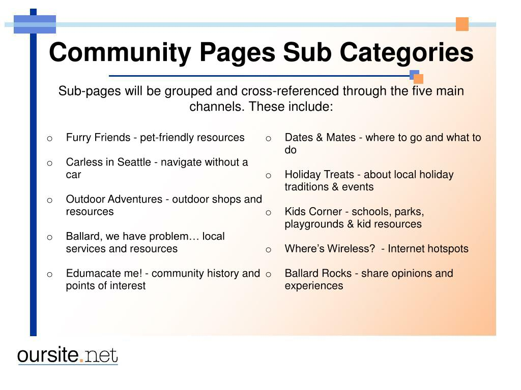 Community Pages Sub Categories