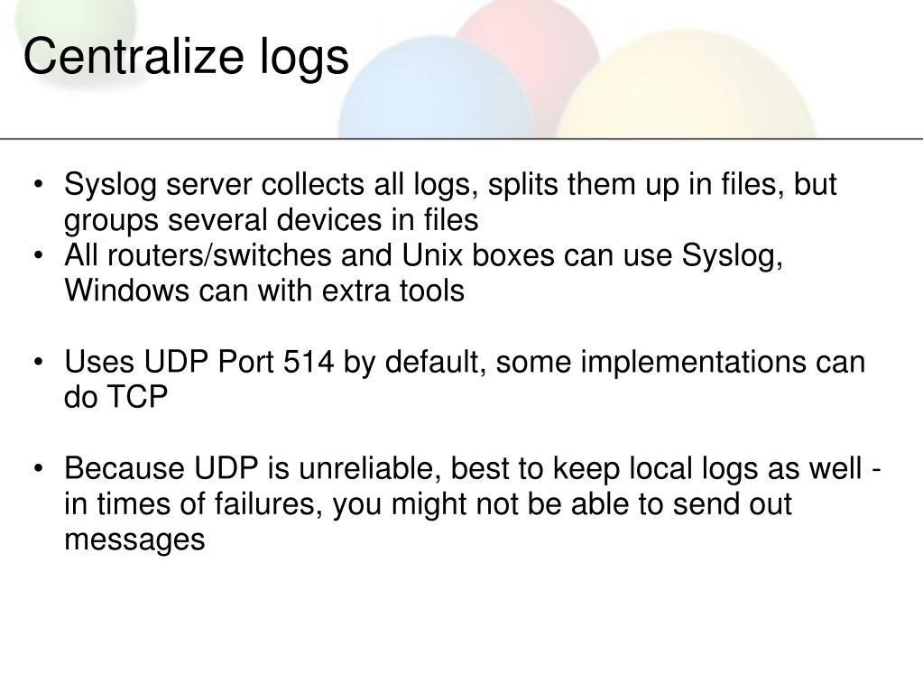 Centralize logs