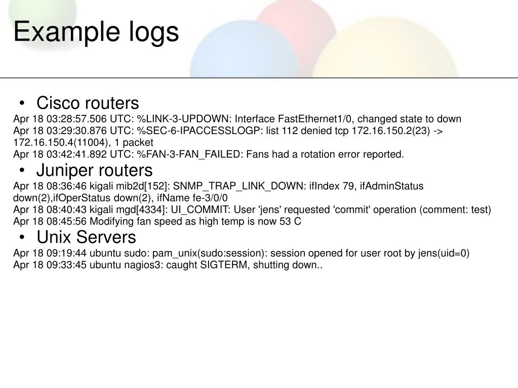 Example logs