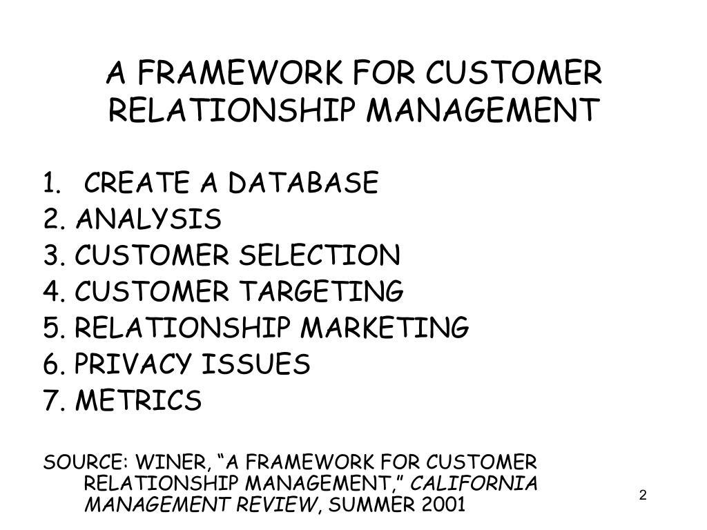 customer relationship management framework