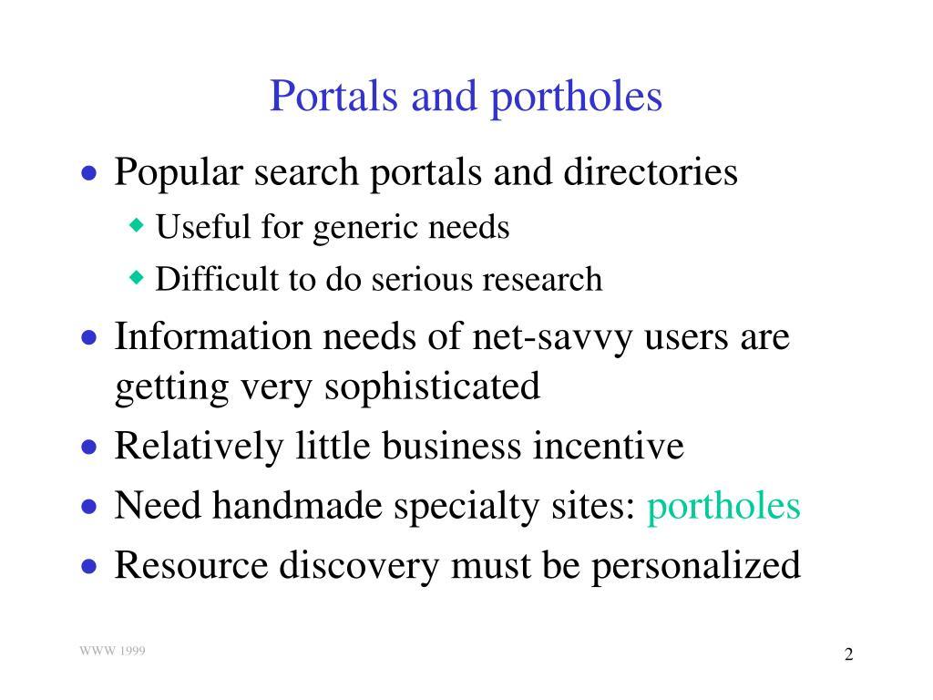 Portals and portholes