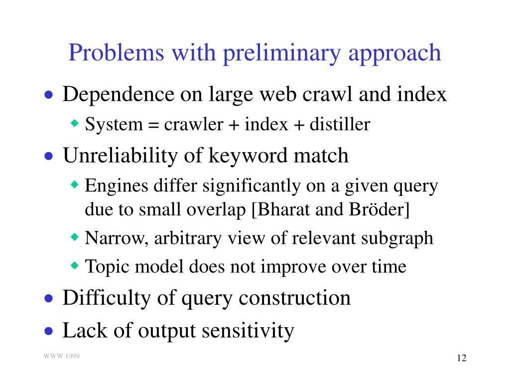 Problems with preliminary approach