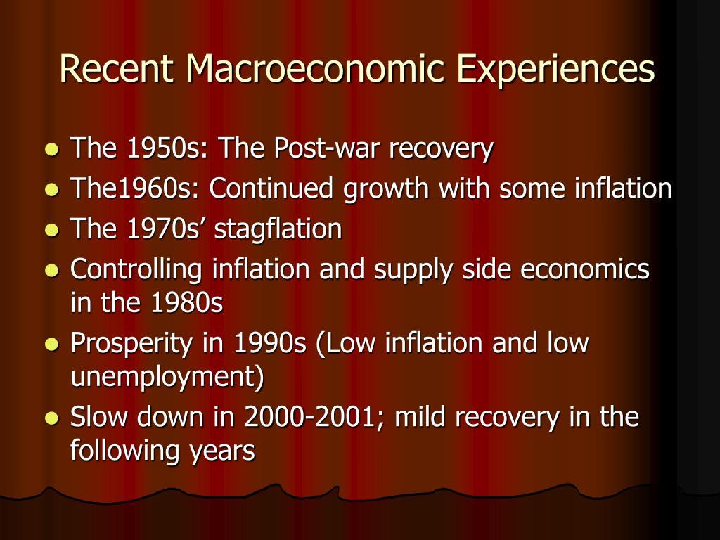 Recent Macroeconomic Experiences