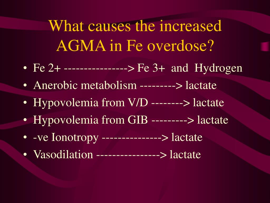 What causes the increased AGMA in Fe overdose?