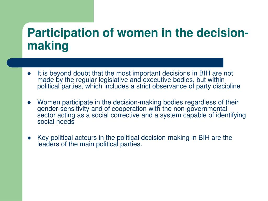 Participation of women in the decision-making