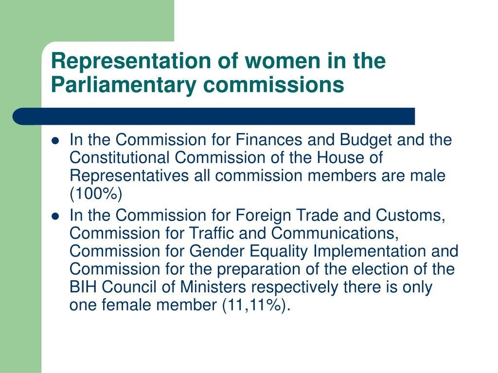 Representation of women in the Parliamentary commissions