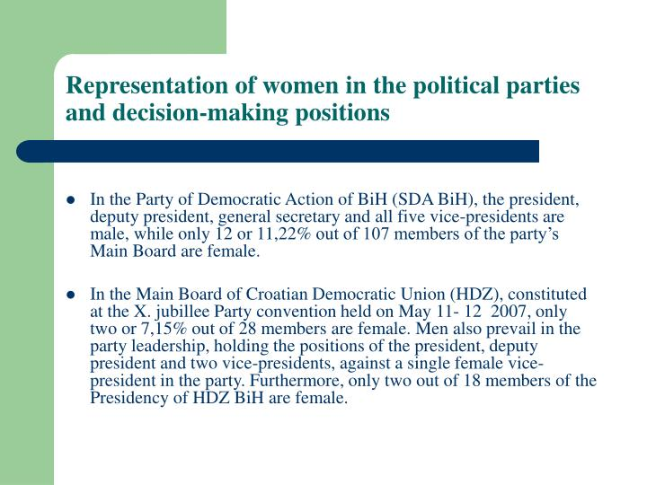 Representation of women in the political parties and decision making positions l.jpg