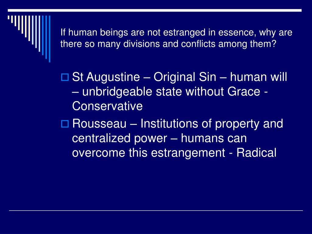 If human beings are not estranged in essence, why are there so many divisions and conflicts among them?