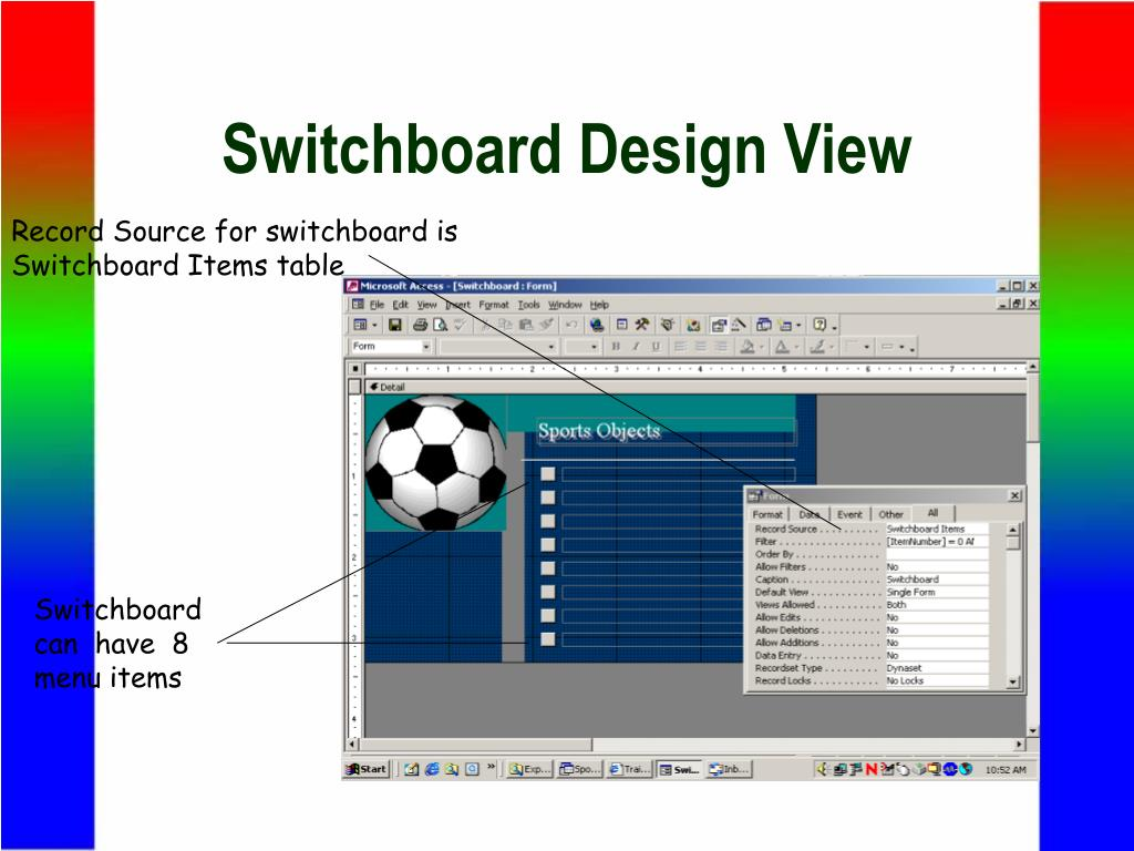 Switchboard Design View