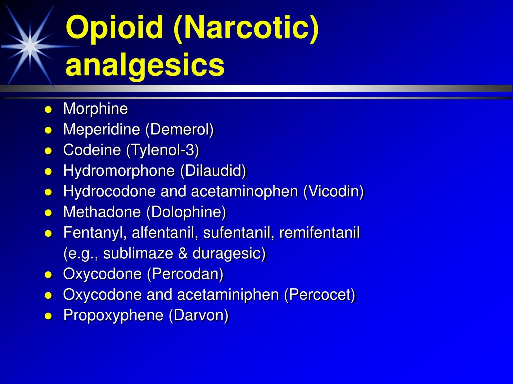 Opioid (Narcotic) analgesics