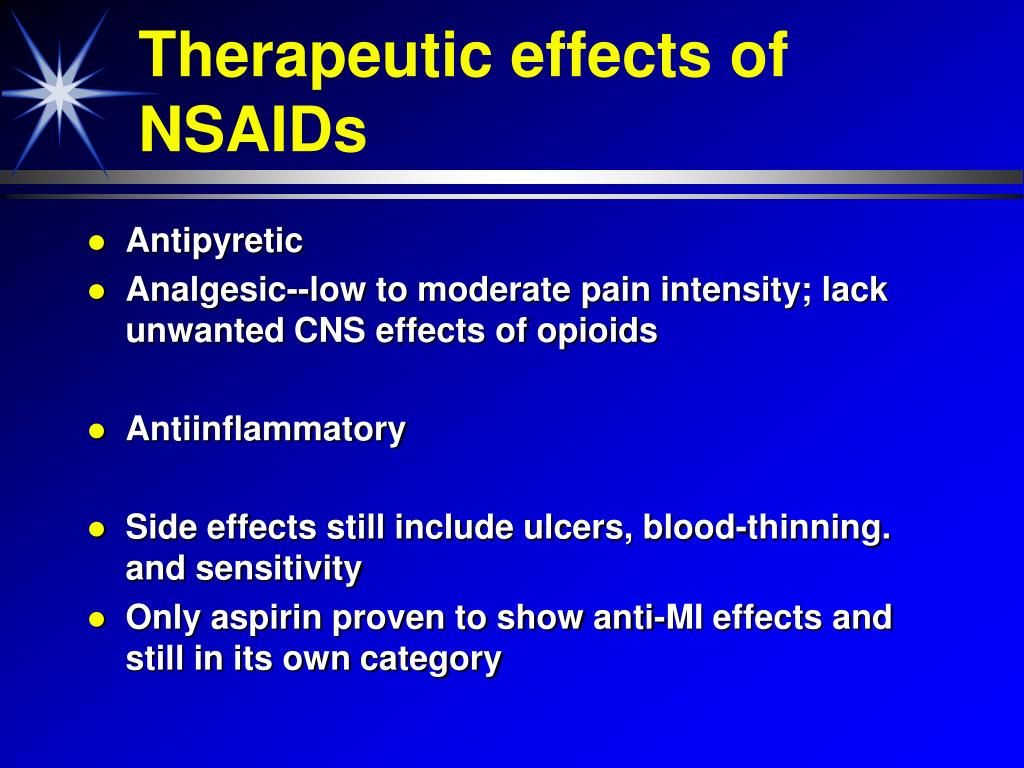 Therapeutic effects of NSAIDs