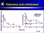 tolerance and withdrawal