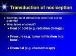 transduction of nociception