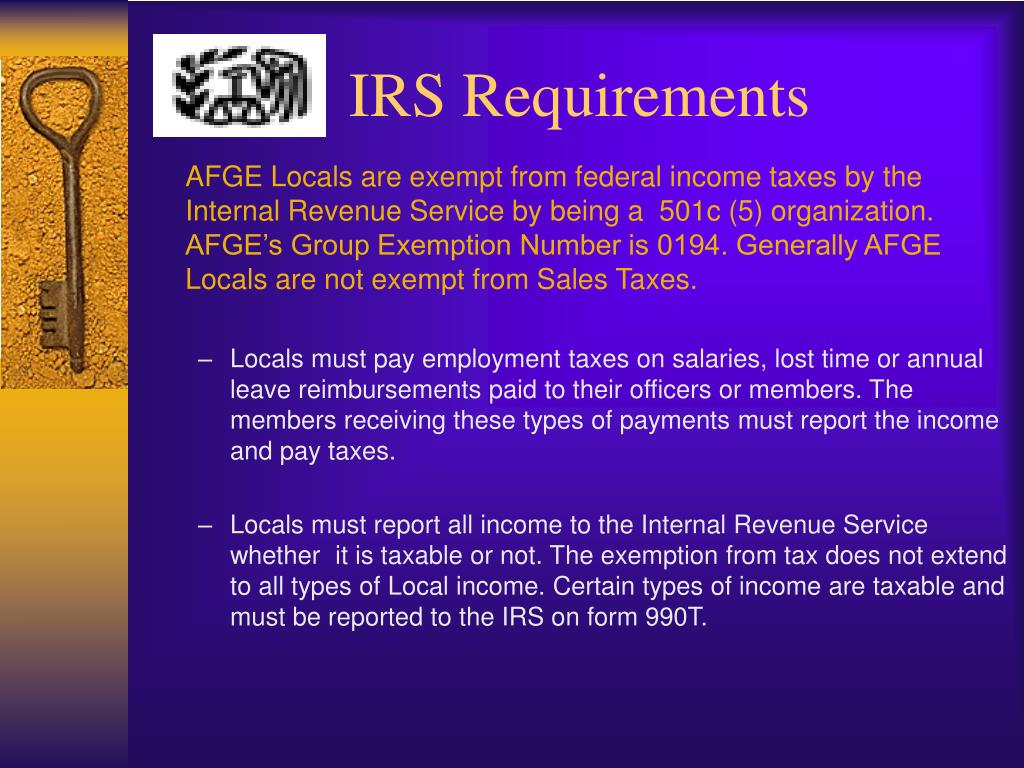 IRS Requirements
