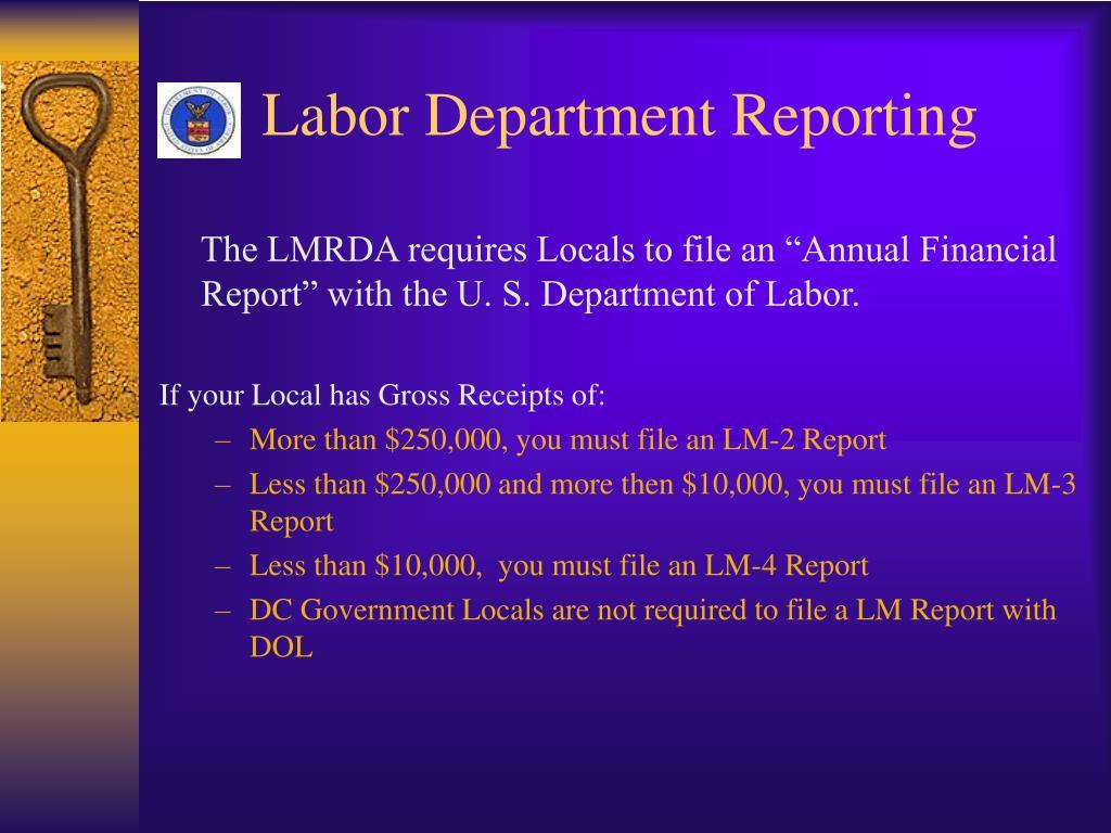 Labor Department Reporting