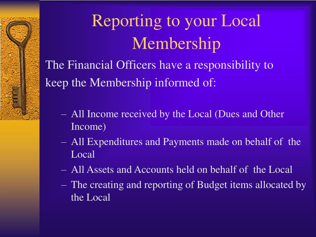 Reporting to your Local Membership