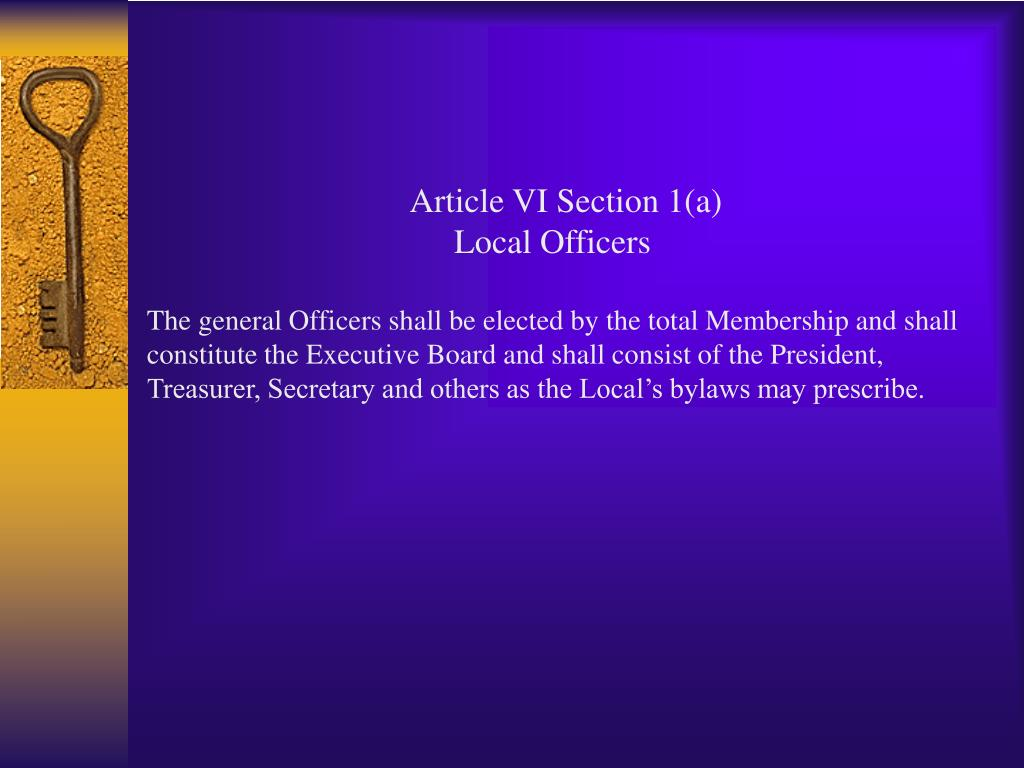 Article VI Section 1(a)