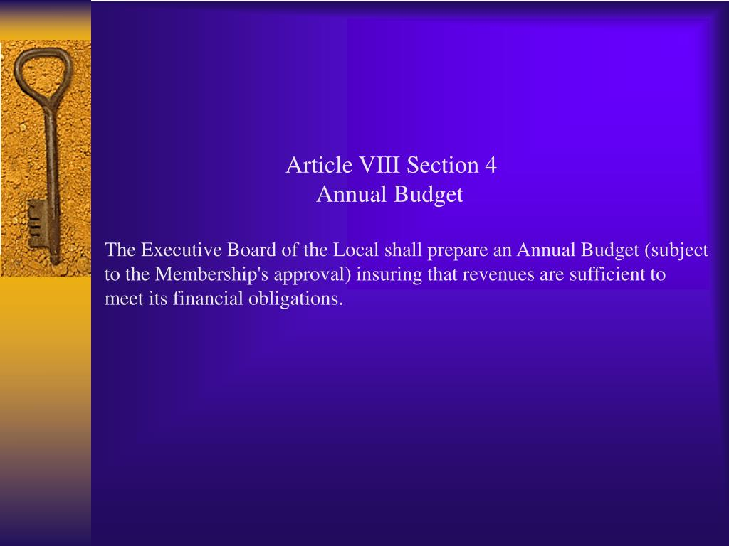 Article VIII Section 4