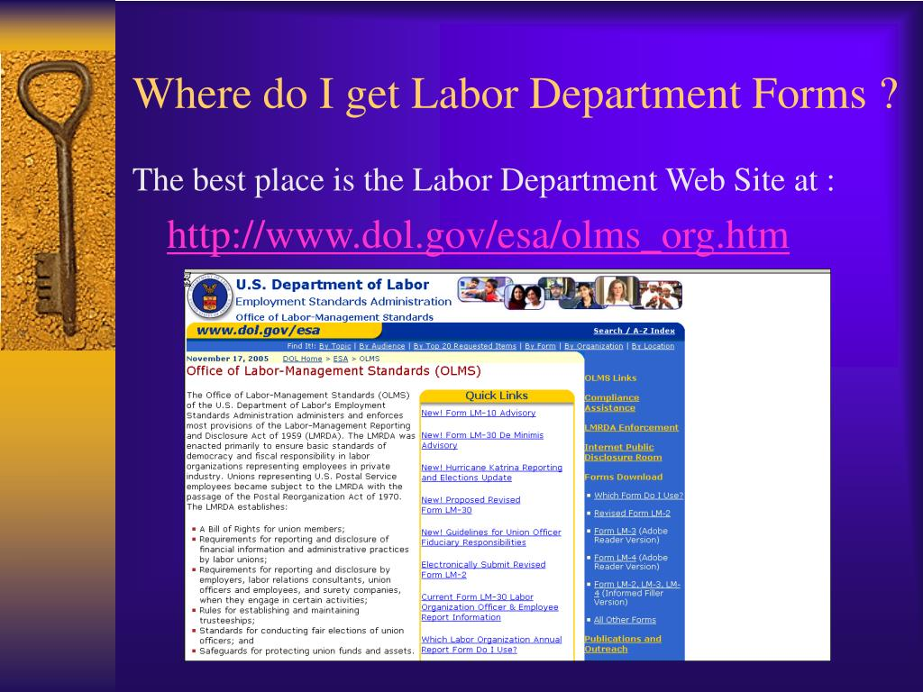 Where do I get Labor Department Forms ?
