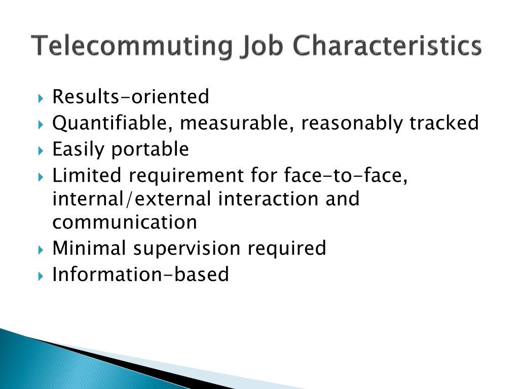 Telecommuting Job Characteristics