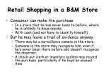 retail shopping in a b m store