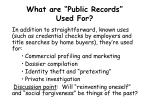 what are public records used for