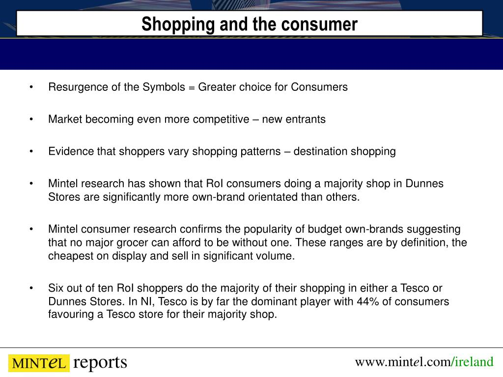 Shopping and the consumer