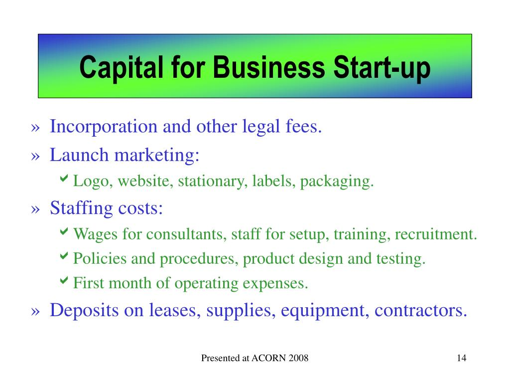 Capital for Business Start-up
