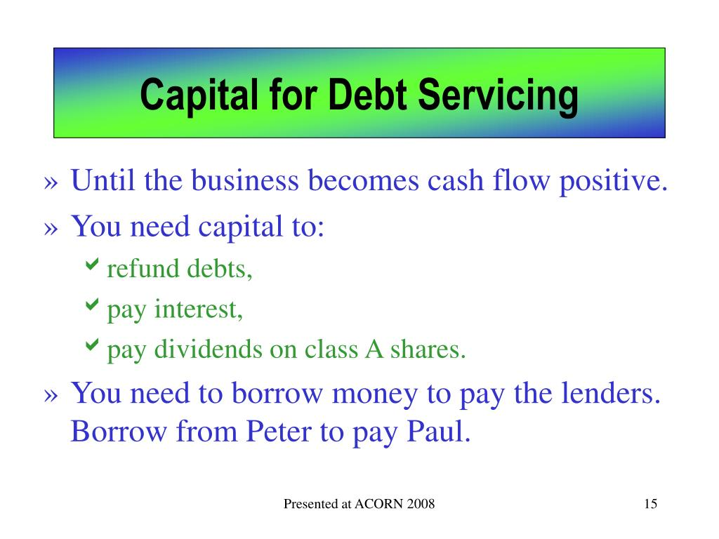Capital for Debt Servicing