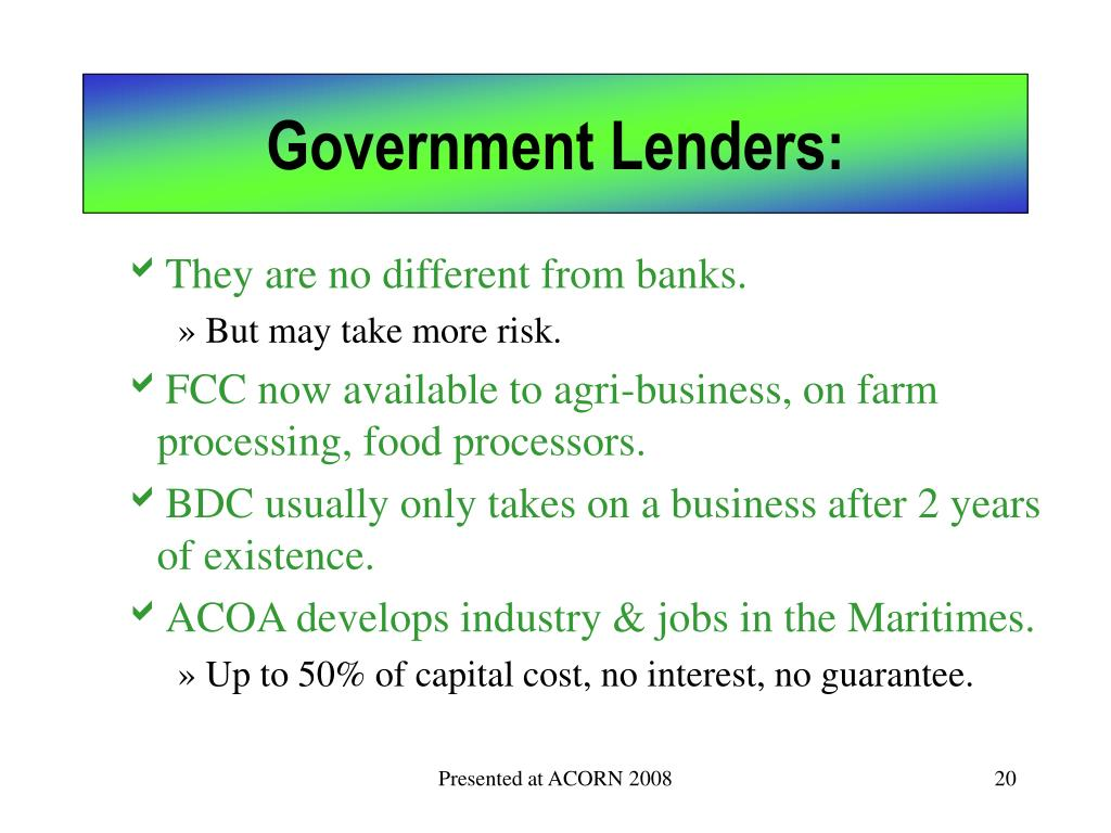 Government Lenders: