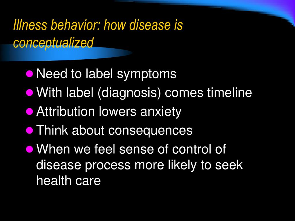 Illness behavior: how disease is conceptualized