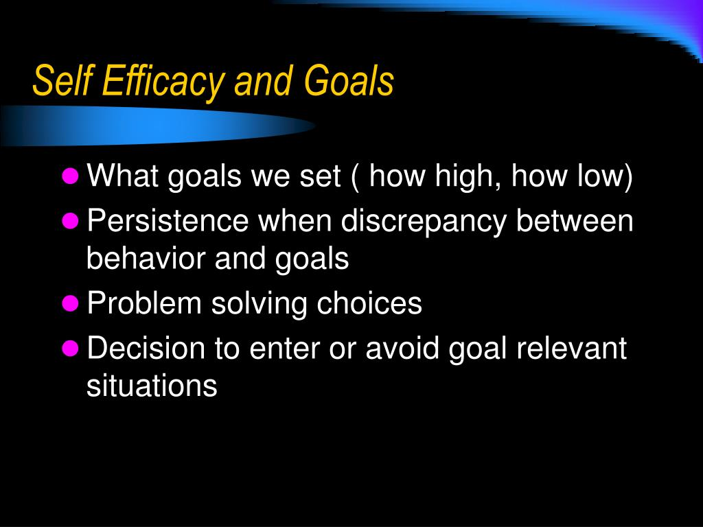 Self Efficacy and Goals