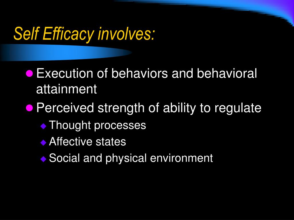Self Efficacy involves:
