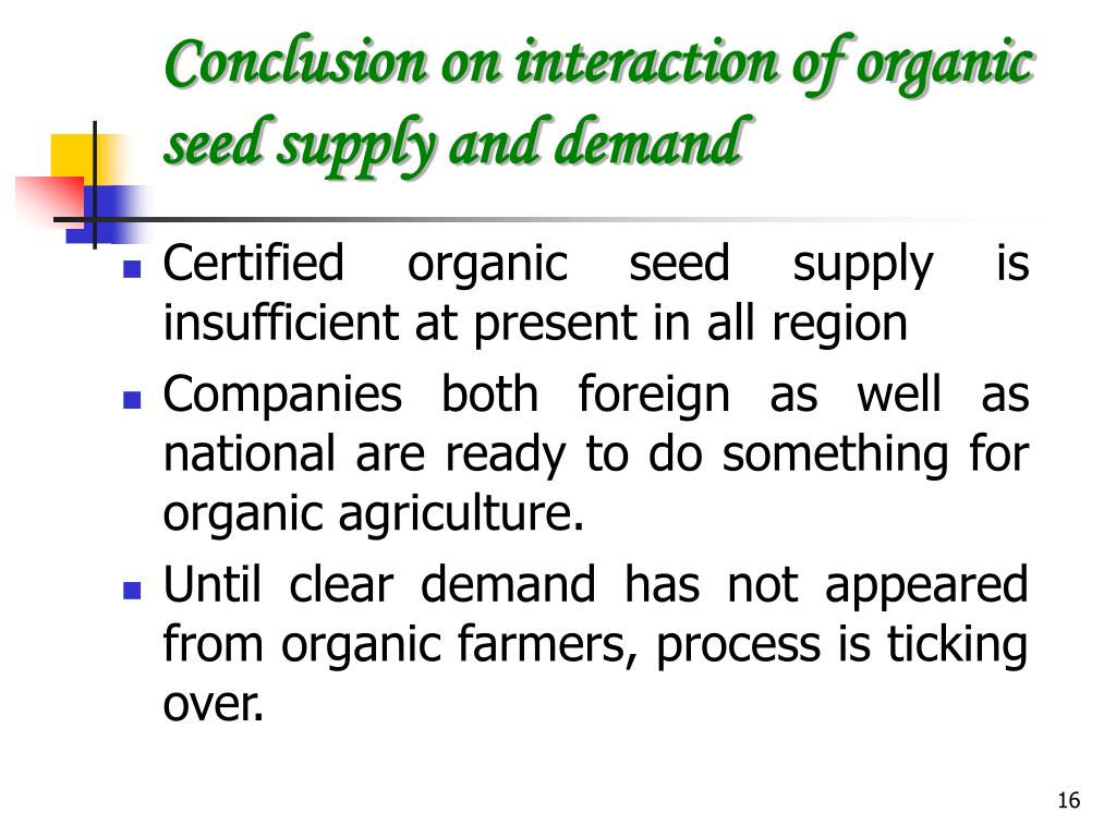 Conclusion on interaction of organic seed supply and demand
