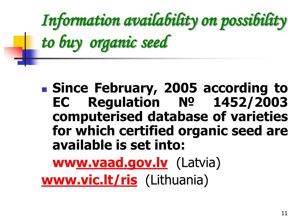 Information availability on possibility to buy  organic