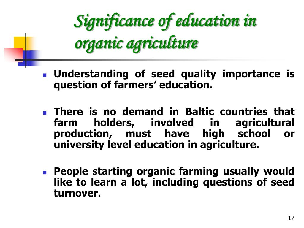 Significance of education in organic agriculture