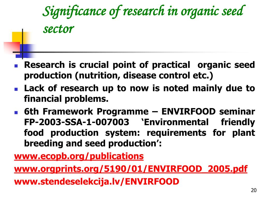 Significance of research in organic seed sector