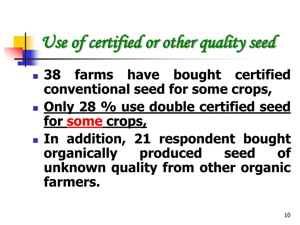 Use of certified or other quality seed