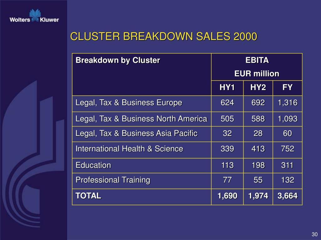 CLUSTER BREAKDOWN SALES 2000