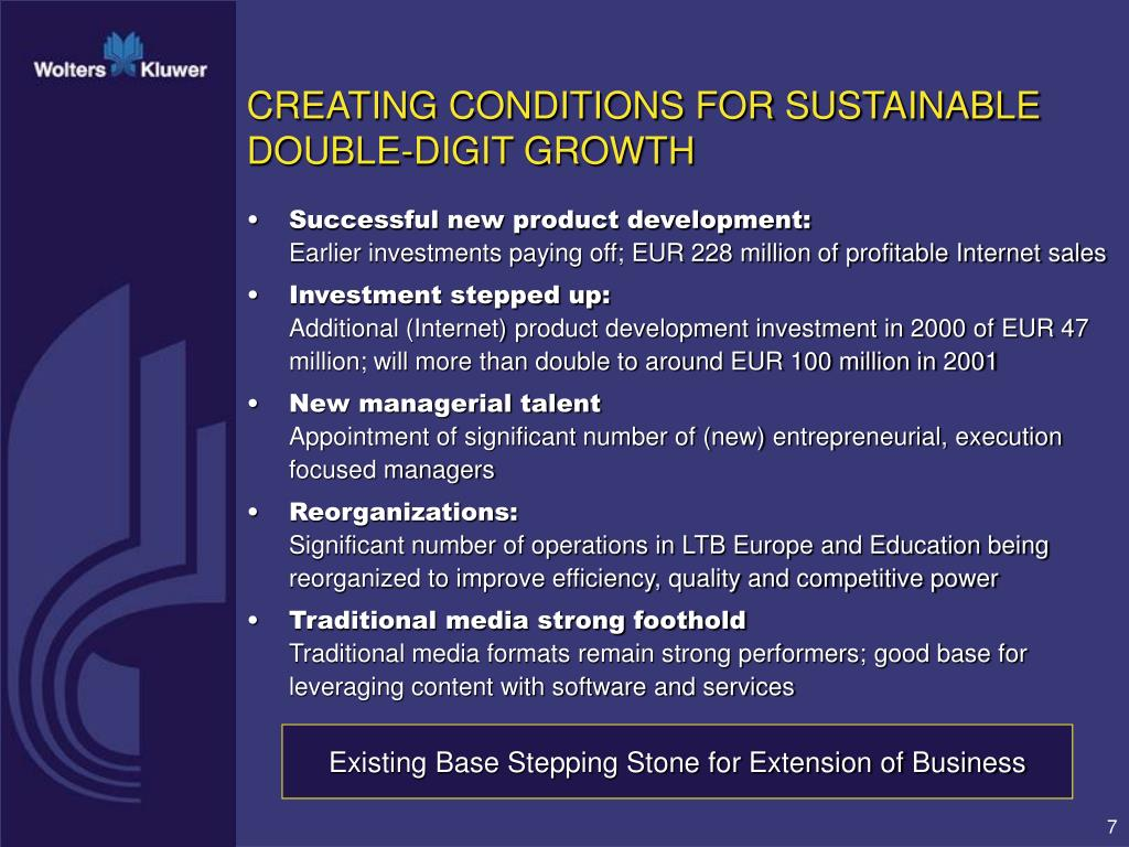 CREATING CONDITIONS FOR SUSTAINABLE DOUBLE-DIGIT GROWTH