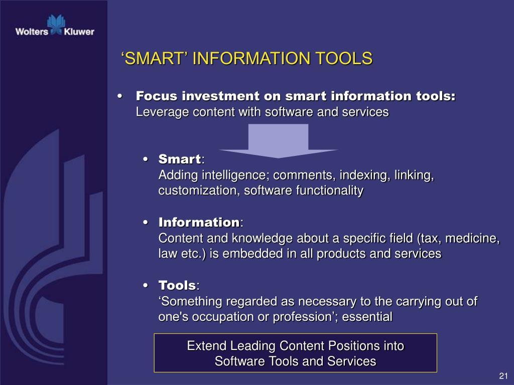 'SMART' INFORMATION TOOLS