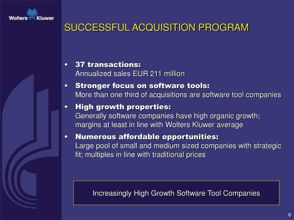 SUCCESSFUL ACQUISITION PROGRAM