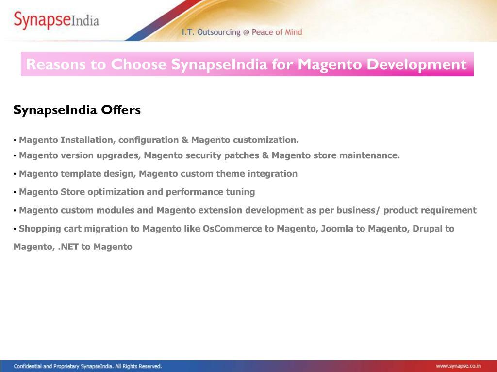 Reasons to Choose SynapseIndia for Magento Development