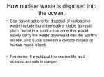 how nuclear waste is disposed into the ocean