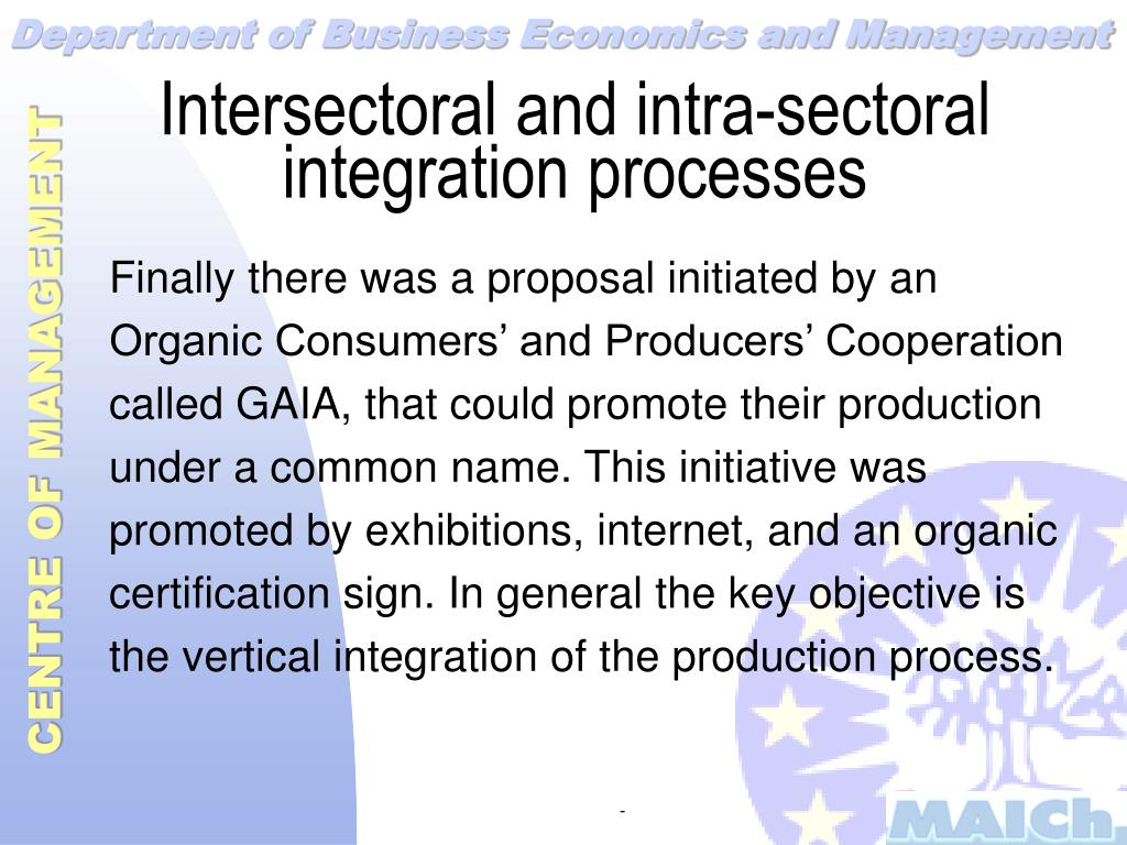 Intersectoral and intra-sectoral integration processes