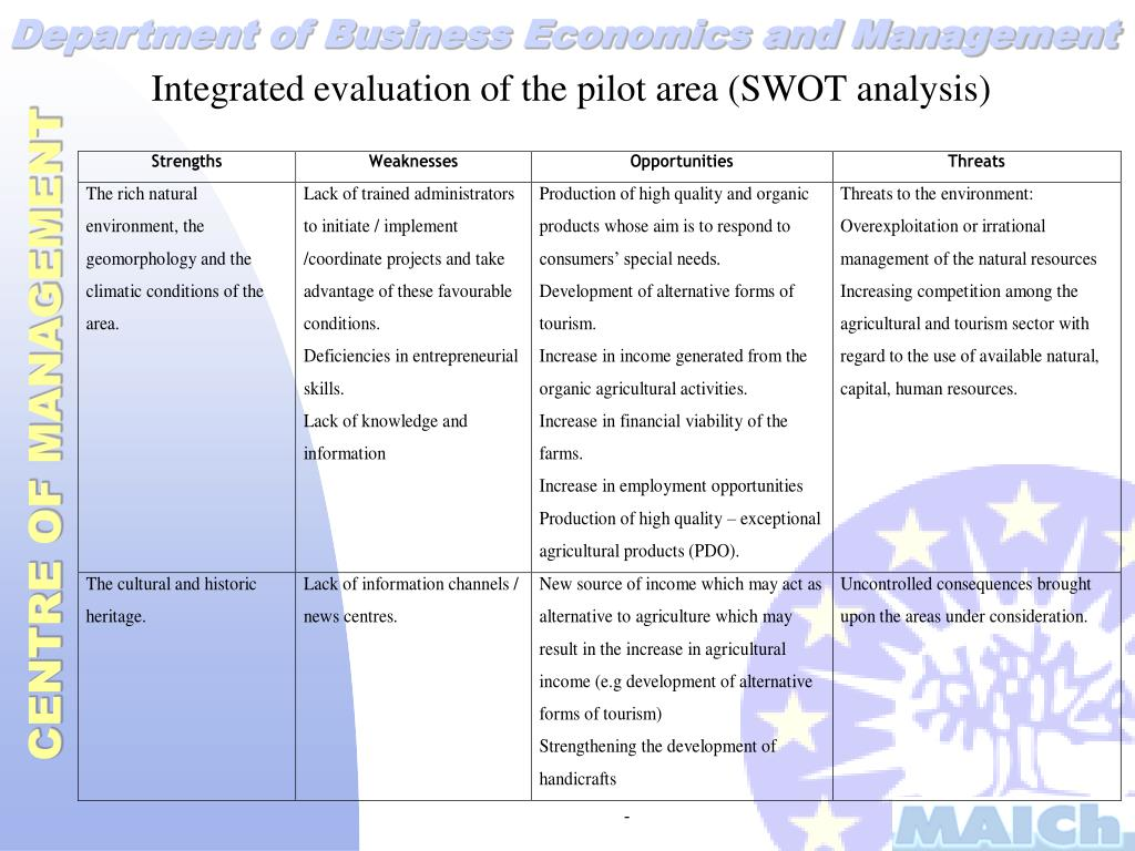 Integrated evaluation of the pilot area (SWOT analysis)