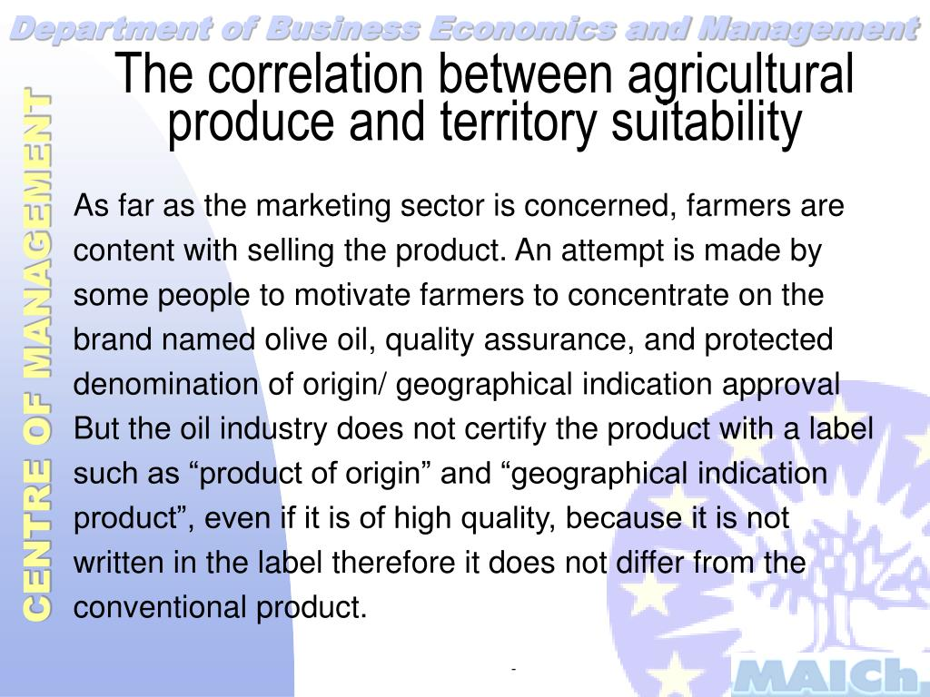 The correlation between agricultural produce and territory suitability