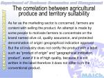 the correlation between agricultural produce and territory suitability27