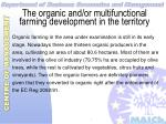 the organic and or multifunctional farming development in the territory