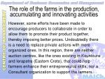 the role of the farms in the production accumulating and innovating activities21